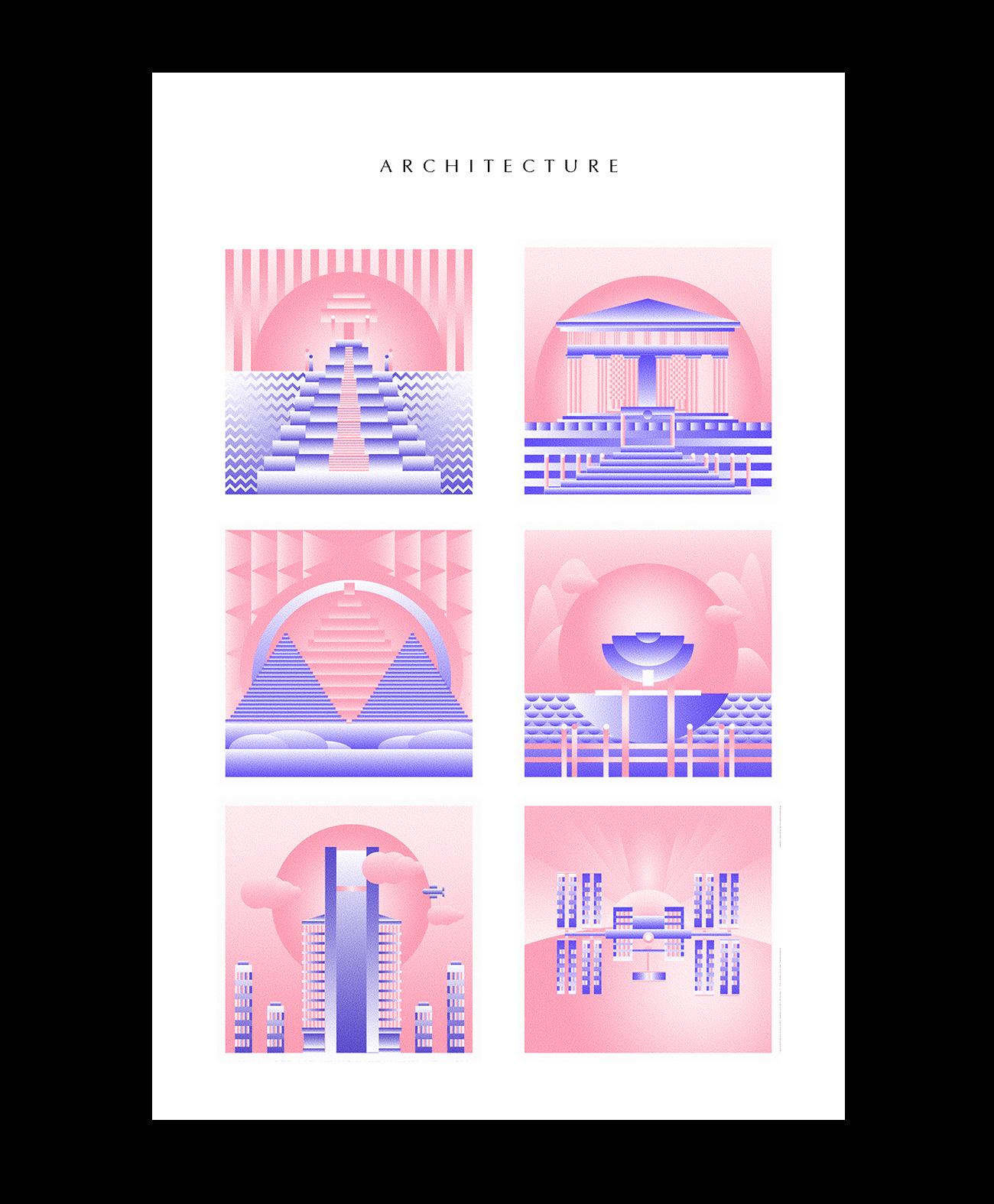 Riso Illustration architecture nature